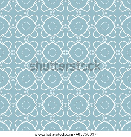 Blue and white seamless geometric pattern, repeating texture. Seamless line background. Contemporary graphic design, ethnic arabic, indian, turkish monochrome ornament.