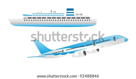 blue and white ship and aircraft isolated over white background vector