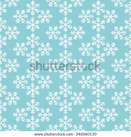 Blue and white snowflakes geometric christmas seamless pattern, vector - stock vector