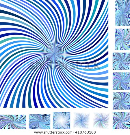 Blue and white vector spiral design background set. Different color, gradient, screen, paper size versions. - stock vector