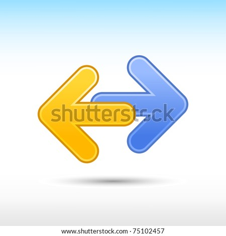 Blue and yellow arrow icon web 2.0 button reload sign with gray shadow on white - stock vector