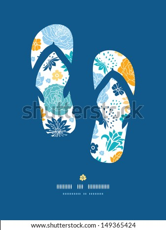 Blue and yellow flower silhouettes flip flops decor pattern background - stock vector
