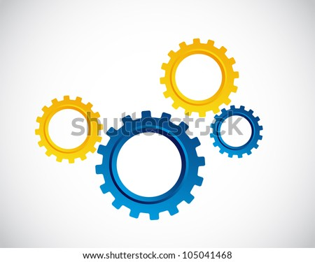 blue and yellow gears over gray background. vector illustration - stock vector