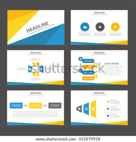 Blue and yellow Infographic elements presentation template flat design set for brochure flyer leaflet - stock vector