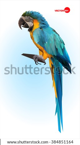 Blue and yellow parrot, macaw. Brazilian Ara.  Big wild tropical bird, Parrot sitting on a wooden branch on a blue blurred background. Animals in the zoo. Design in the polygonal style.  - stock vector