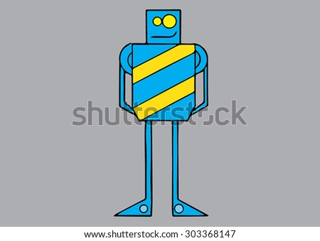 Blue and yellow vector robot.