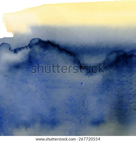 Blue and  yellow watercolor background. Vector illustration