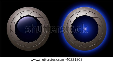 "blue animation shutter LED light ""on"" and ""off"" in a metallic rim"