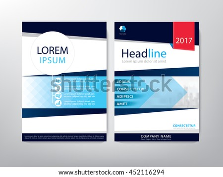 Blue annual report brochure flyer design template vector, Leaflet cover presentation abstract flat background, book cover templates, layout in A4 size