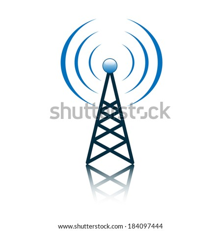 Blue antenna mast sign on white - stock vector