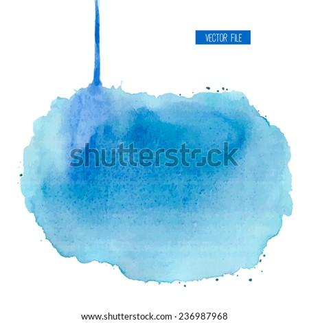 Blue aquarelle blotch. Watercolor background. - stock vector