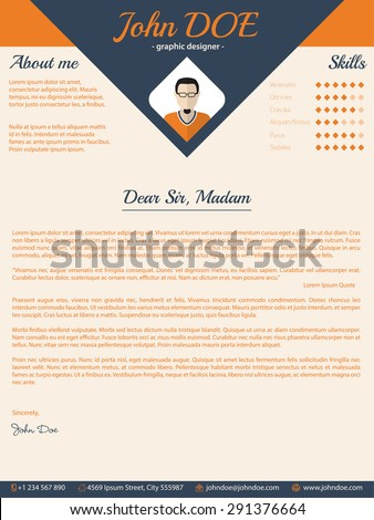 Blue arrow cover letter cv resume template design - stock vector