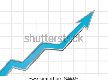 Blue arrow growing up graph on grid vector illustration.