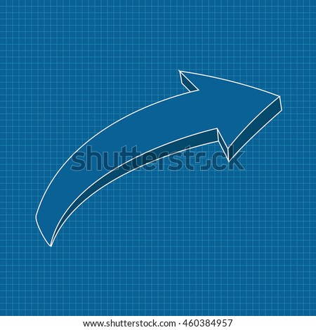 Blue arrow on blueprint grid background. Right. Vector illustration