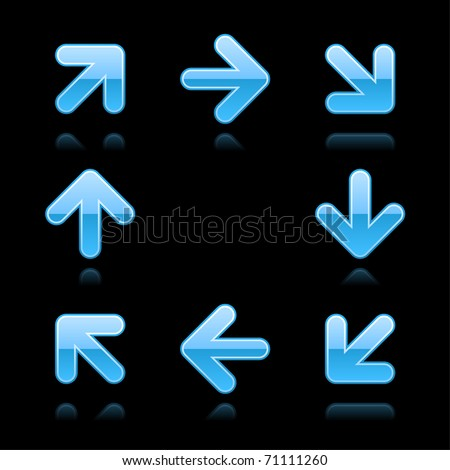 Blue arrow sign web 2.0 button. Glossy shapes with color reflection on black - stock vector