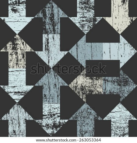 blue arrows seamless pattern on dark grey - stock vector