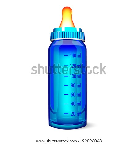 blue baby bottle isolated on white  - stock vector
