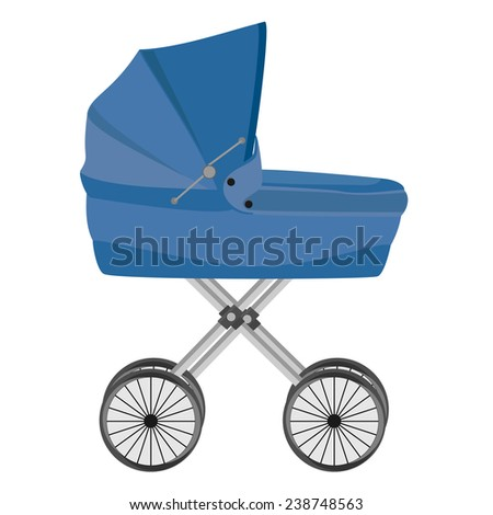 Blue baby carriage isolated on white, baby pram, vector