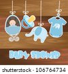blue baby shower card with wooden texture. vector illustration - stock vector