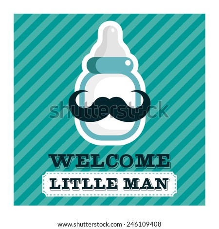 Blue baby shower greeting card with mustache baby bottle - stock vector
