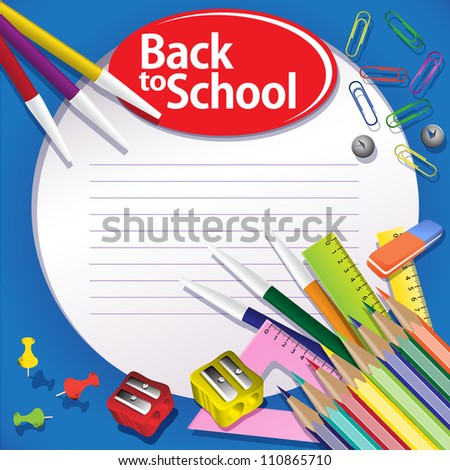 Blue Back to school background. Buttons, paper clips, pencils, rulers. Grouped for easy editing. - stock vector