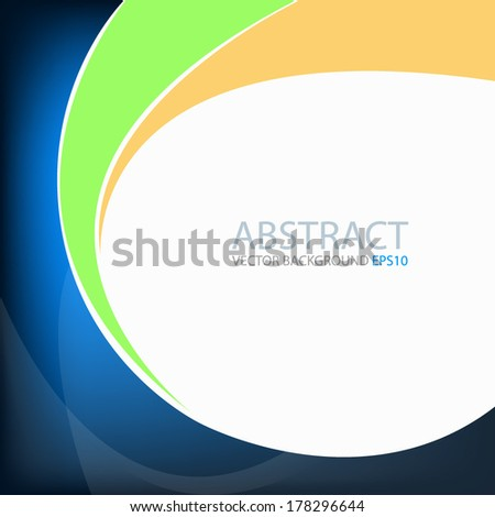 Blue background graphic circle curve orange and green line for text and message modern web design - stock vector