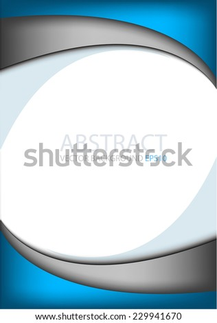 Blue background on white with silver grey line paper curve line abstract for text and message modern artwork design , vector - stock vector