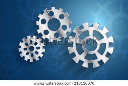 blue background set metal gear mechanism parts - stock vector