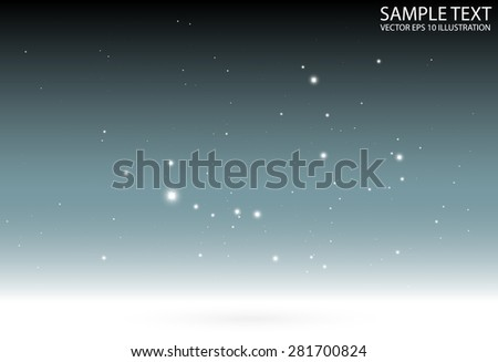 Blue background sparkles falling vector background template - Vector glitters and sparkles on blue background illustration - stock vector