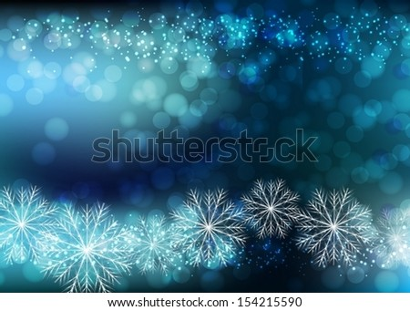 Blue Background With Bokeh And Blur. Christmas snowflakes. Vector EPS 10 illustration. - stock vector