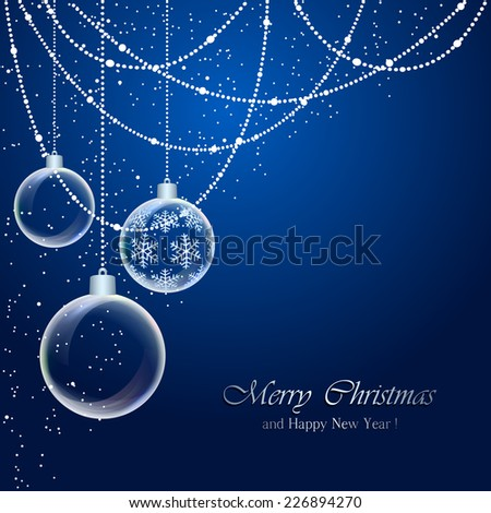 Blue background with Christmas balls and falling snow, illustration. - stock vector