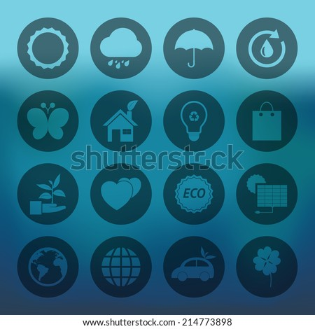 Blue background with circle Eco icons set