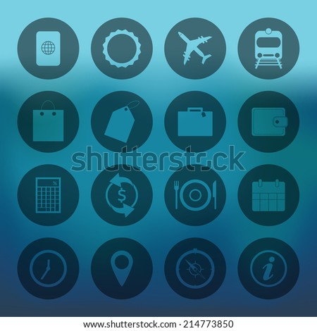 Blue background with circle Travel Icons set - stock vector