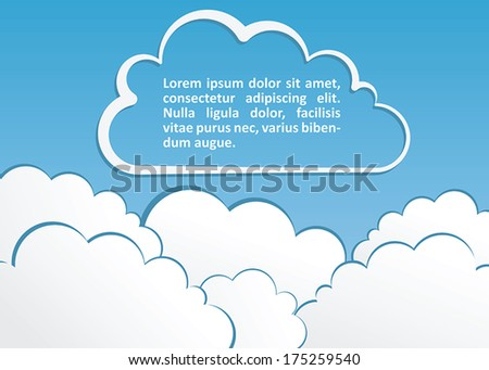 Blue background with clouds. Vector illustration.