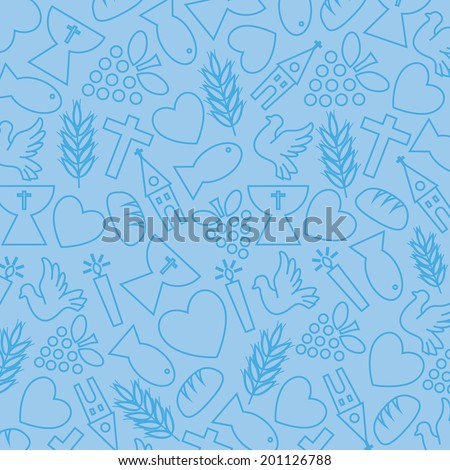 blue background with communion icons - stock vector