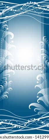 blue background with decorative plants vertical - stock vector