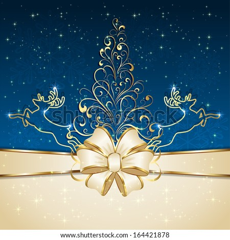 Blue background with floral Christmas tree and deers, illustration. - stock vector