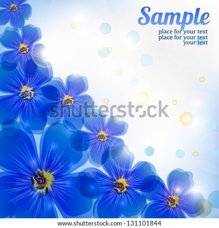 blue background with flowers - stock vector