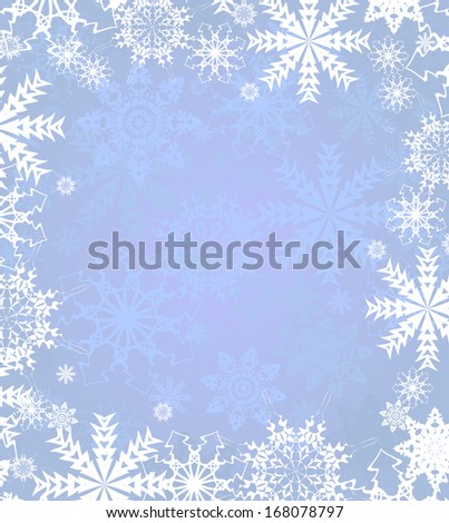 Blue background with frame from of snowflakes. Vector illustration