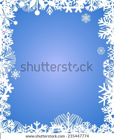 Blue background with frame of snowflakes - stock vector