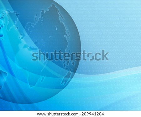 Blue background with globe and binary code - stock vector
