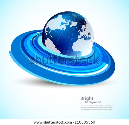 Blue background with globe and circles - stock vector