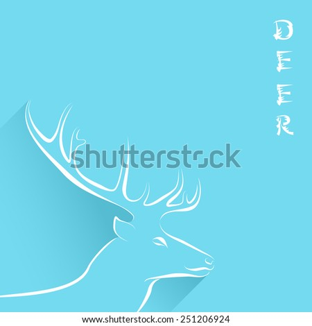 Blue background with line art animal portrait, some long shadows and chinese style title. Deer head with horns and text white contour. Vector file is EPS8. - stock vector