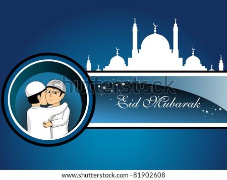 blue background with mosque, people hugging &wishing eid mubarak - stock vector