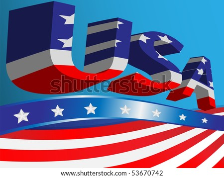 Blue background with ribbons of the flag USA and abbreviation