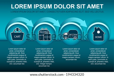 Blue background with scheme for purchase in the online store with symbols and place for text content - stock vector