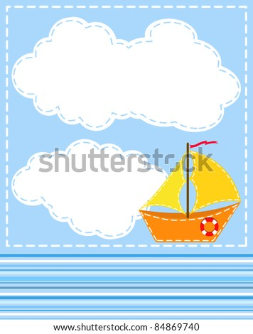 Blue background with ship. Vector illustration.
