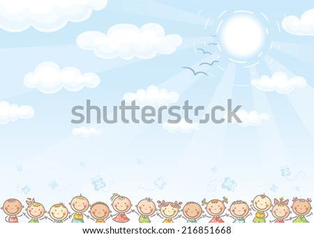Blue background with sky and lots of kids - stock vector