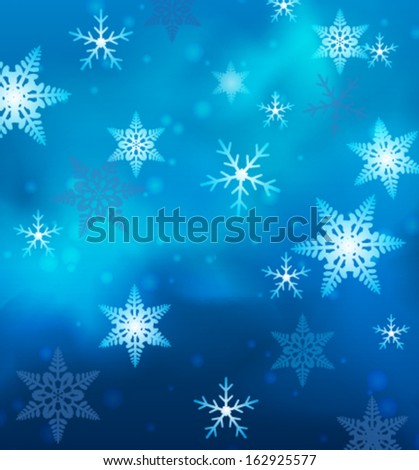 Blue background with small vector snowflakes
