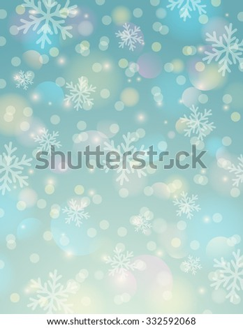 Blue background with snowflake and bokeh, vector illustration - stock vector